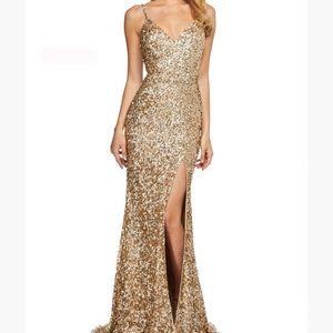 NWT Sherri Hill 53449 Gold Sequin Slit Dress